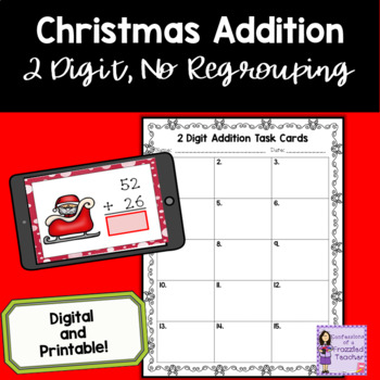 December 2 Digit, No Regrouping Addition Task Cards