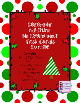 December 2 and 3 Digit, No Regrouping Addition Task Cards Bundle