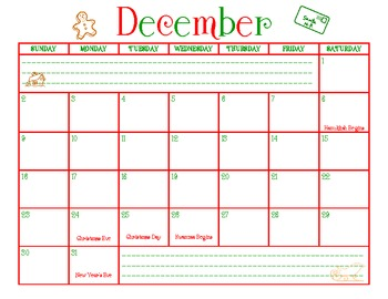December 2012 Calendar- Stay Organized During the Holidays!