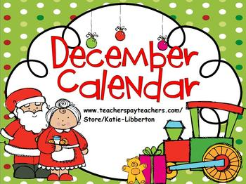 December 2016 Kindergarten ActivInspire Calendar