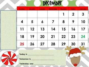 December 2018 Interactive Whiteboard Calendar