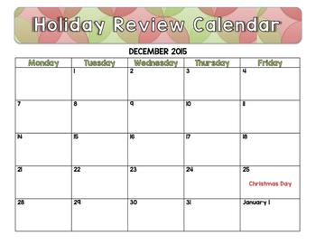 December 2015 Holiday Review Calendar