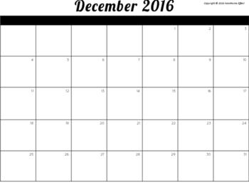 December 2016 Blank Calendar