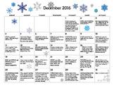 December 2016- Early Learning Calendar