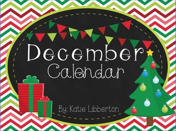 December First Grade ActivInspire Calendar