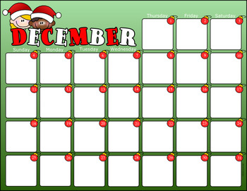 December 2016 Monthly Calendar