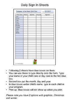 December 2017 Sign In Sheets - Editable