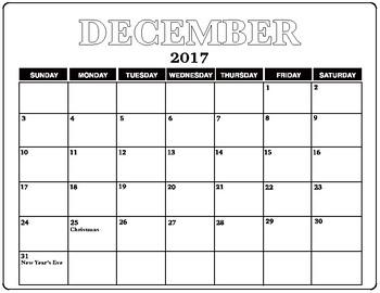 December 2017 Calendar Blank with Holidays listed