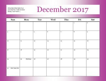 December 2017 Teacher Calender