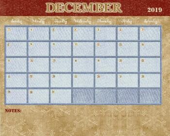 December 2018 Calendar - 8x12