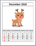 December 2018 Calendar, Free Download, Reindeer Calendar