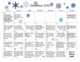 December 2018- Early Learning Activity Calendar