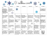 December 2018- Early Learning Activity Calendar