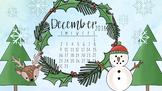 December 2018 Winter Calendar Computer Wallpaper