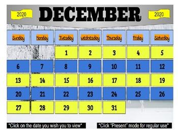December 2020 Interactive Calendar/Lesson Planner-For any Class (Google Slides)