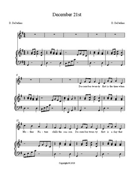 December 21st - unison choral
