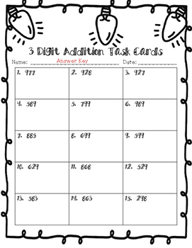 December 3 Digit, No Regrouping Addition Task Cards