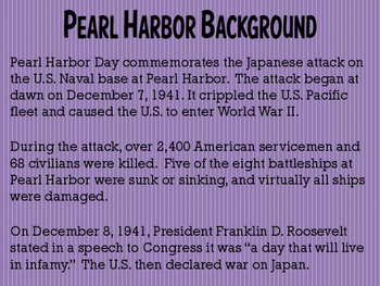 December 7th (Commemorate Pearl Harbor Day) Writing Activity PPT