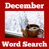 December Worksheet Word Search