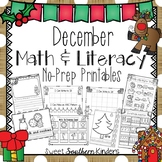 December Activities Math and Literacy No-Prep Printables for PK-K