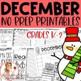 aa December Winter Holiday NO PREP Activities Packet K-2nd Grades