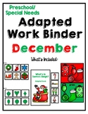 December Adapted Task Binder for Preschool, Pre-K and Special Needs
