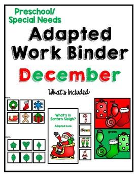 December Adapted Task Binder for Preschool, Pre-K and Special Needs