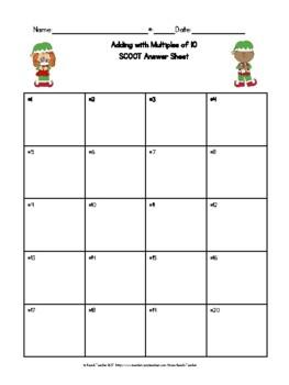 December Adding Multiples of 10 Task Cards & Game 1.NBT.4