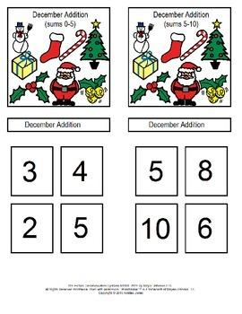 December Addition File Folder Games