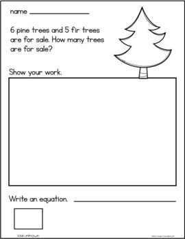 December Addition Word Problems First Grade