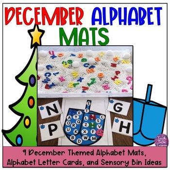 December Alphabet Mats and Sensory Bins