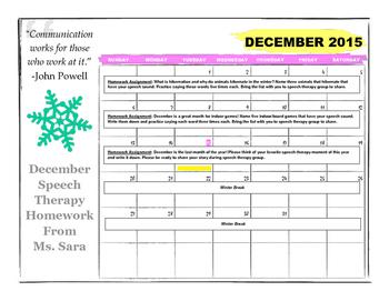 December Articulation Homework Calendar