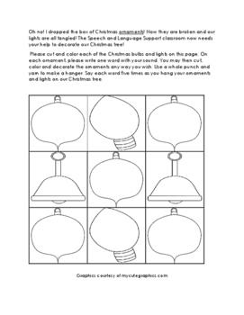 December Articulation Practice Packet