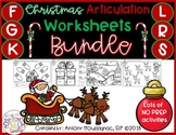 December Articulation Worksheets BUNDLE (F, G, K, L R, S)