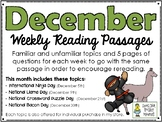 December BUNDLE of Weekly Reading Passage and Questions (4