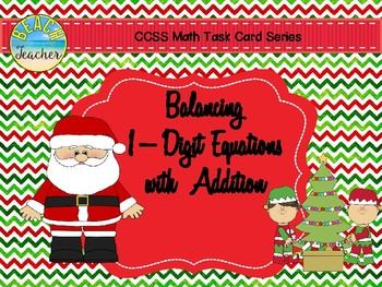 December Balancing 1-Digit Equations with Addition Math Center 1.OA.7