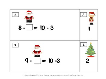 December Balancing Equations With Numbers Up to 20 with Subtraction