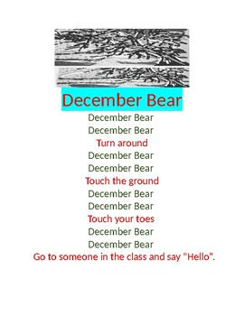 December Bear Responsive Classroom Song and Activity
