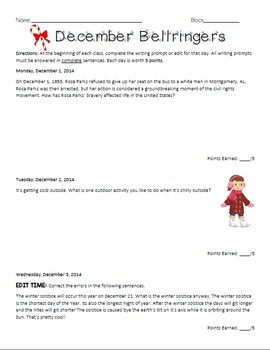 December Bellringers - ELA writing prompts and edits to start the class