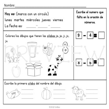 December Bilingual Morning Work
