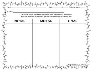 December Book Walk Worksheet