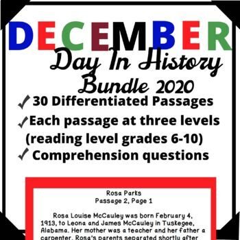 December Bundle-Day in History Differentiated Reading Passage Ongoing Assessment