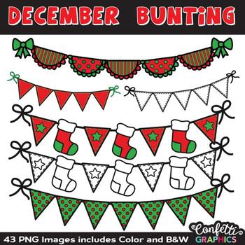 December Bunting Mega Clip Art Set Christmas Holiday Red Green
