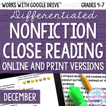 December COMBO Differentiated Nonfiction Close Reading Texts and Questions