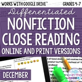 December COMBO Differentiated Nonfiction Close Reading Tex