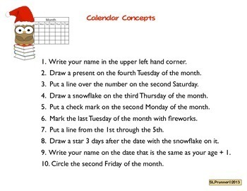 December Calendar Activities for Language - free yearly updates