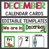 December Pocket Chart or Linear Calendar Cards