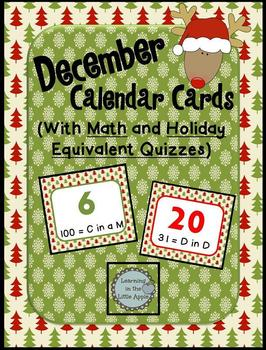 December Calendar Cards with Math and Holiday Quizzes