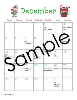 December Calendar Center Task Cards - Calendar Activity