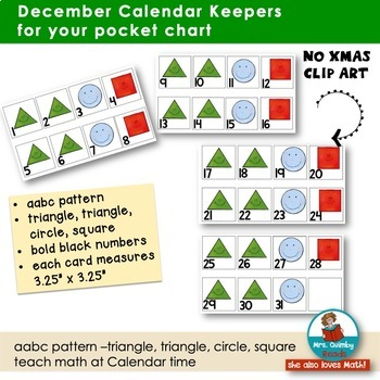 December Calendar Keepers -Patterns-  Math Stations - [Literacy Pages]